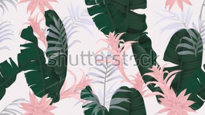 Adesivo Modello senza cuciture floreale, foglie verdi della banana, pianta di bromeliaceae e foglie di palma rosa su fondo grigio chiaro, tema d'annata pastello
