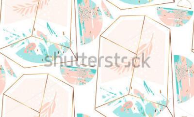 Adesivo Modello senza cuciture geometrico artistico dell'estratto disegnato a mano di vettore con il terrario ed il brunch di cristallo in oro, colori blu pastello e tiffany isolati su fondo bianco Fondo