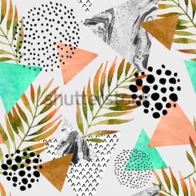 Adesivo Modello senza cuciture geometrico di estate astratta. Triangoli con texture grunge foglia di palma e marmo. Geometrico astratto in vintage retrò anni '80 anni '90 pop art. Illustrazione natura