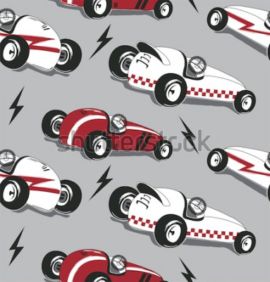 Adesivo Modello senza cuciture, grafico d'annata della maglietta di tipografia delle macchine da corsa isolato sul vettore grigio dell'illustrazione del fondo.
