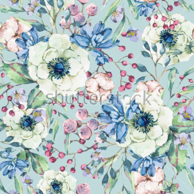 Adesivo Modello senza cuciture naturale dell'acquerello dell'annata decorativa con anemone, fiori selvatici, cotone, foglia e germogli, illustrazione floreale botanica su fondo blu