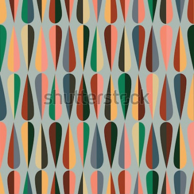 Adesivo Modello senza cuciture retrò stile moderno di metà del secolo con forme a goccia in vari toni di colore, sfondo astratto ripetuto per tutti gli scopi di stampa e web.