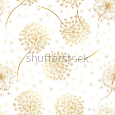 Adesivo Modello senza saldatura con fiori tarassaco. Illustrazione vettoriale