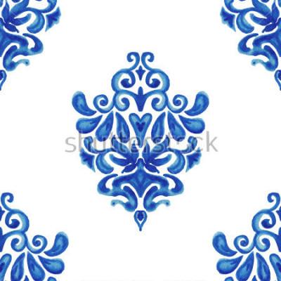 Adesivo Modello senza tessuto astratto delle piastrelle di vernice Acquerello ornamentale per tessuto