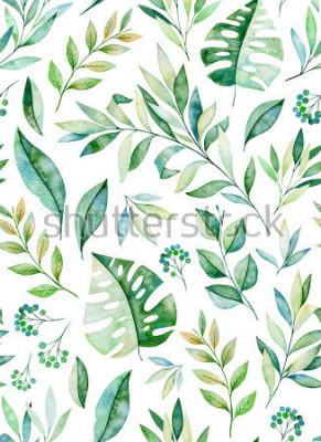 Adesivo Modello senza tessuto del ramo dell'acquerello su fondo bianco. Texture con verdi, rami, foglie, foglie tropicali, motivi.Perfetto per matrimoni, copertine, sfondi, motivi, packagi
