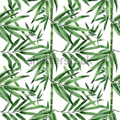 Adesivo Modello tropicale dell'albero di bambù delle foglie in uno stile dell'acquerello. Foglie selvatiche Aquarelle per sfondo, trama, motivo avvolgente, cornice o bordo.