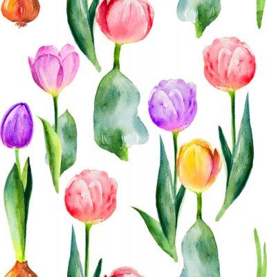 Adesivo modello tulipano senza soluzione di continuità su sfondo bianco