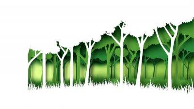 Adesivo Modello verde del fondo della foresta della natura di Eco Piantagione della foresta con stile creativo di arte della carta di concetto di idea di conservazione dell'ambiente e di ecologia Illustrazion