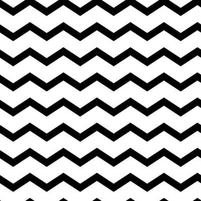 Adesivo Modern geometric seamless pattern zig zag. Black waves isolated on white background. Classic striped retro background. Vector illustration