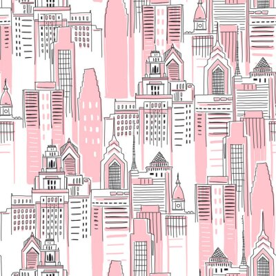 Adesivo Modern New York city scape in pink colour. Girlish Superhero themed seamless pattern. Vector doodle graphics. Perfect for little girl design like t-shirt textile fabric print birtday party wrapping