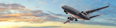 Adesivo Moderno volo Aereo passeggeri in sunset panorama