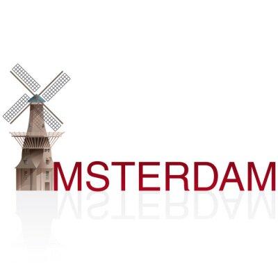 Adesivo Molen De Gooyer, Amsterdam. Vettori di città europee monumentals.