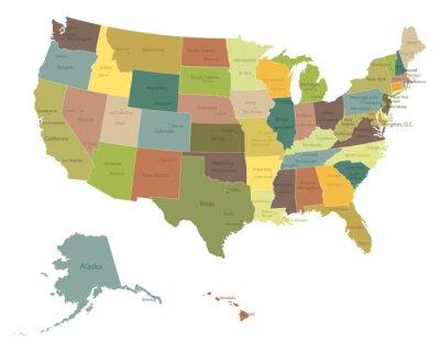Adesivo Molto dettagliate politici USA map.Layers usati.