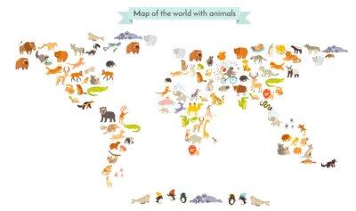Adesivo Mondo mammifero Mappa sagome. Animali mappa del mondo. Isolato su sfondo bianco illustrazione vettoriale. illustrazione cartoon colorato per i bambini e altre persone. educazione