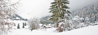 Adesivo montagna di neve in inverno