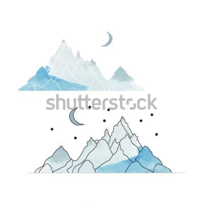 Adesivo Montagne blu. Disegno di un paesaggio in stile acquerello. Illustrazione vettoriale