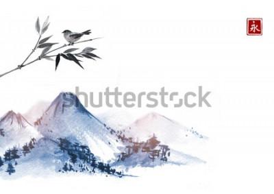 Adesivo Montagne e uccellino sul ramo di bambù. Geroglifico - eternità. Pittura a inchiostro orientale tradizionale sumi-e, u-sin, go-hua.