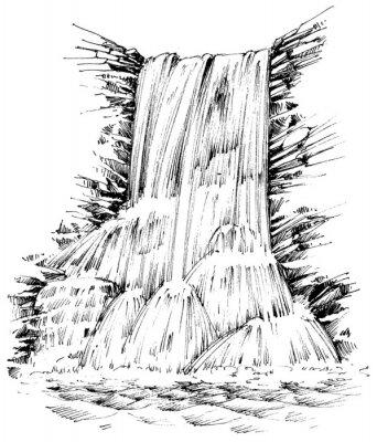 Adesivo Monti cascata illustrazione grafica