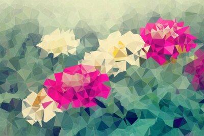 Adesivo Mosaic e basso fondo poligoni su sfondo di fiori, illustrazione