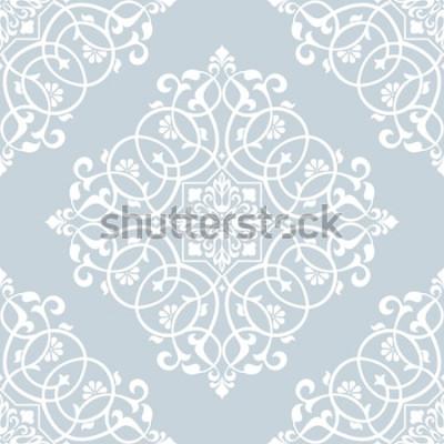 Adesivo Motivo floreale Carta da parati barocca, damasco. Sfondo vettoriale senza soluzione di continuità. Ornamento blu e bianco.