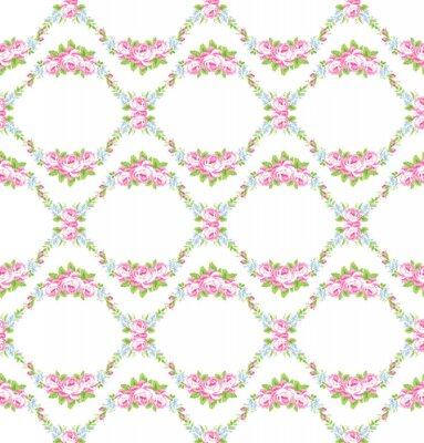 Adesivo Motivo floreale con rose rosa giardino