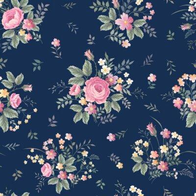 Adesivo motivo floreale senza soluzione di continuità con la rosa bouquet ondark sfondo blu