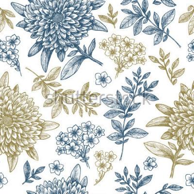 Adesivo Motivo floreale senza soluzione di continuità. Elementi di fiore stili impreciso lineari. Design tessuto vintage. Illustrazione vettoriale