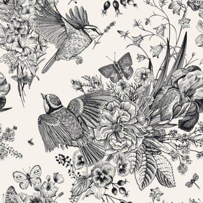 Adesivo Motivo floreale senza soluzione di continuità Tette, fiori, farfalle. Illustrazione botanica vintage di vettore Bianco e nero