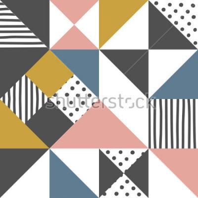 Adesivo Motivo geometrico Priorità bassa astratta del triangolo con la banda disegnata a mano e l'illustrazione di vettore del pois.