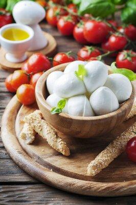 Adesivo mozzarella italiana con pomodoro e basilico