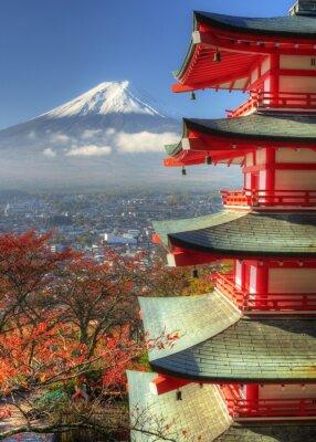 Adesivo Mt. Fuji e Autumn Leaves a Arakura Sengen Santuario in Giappone