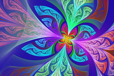 Adesivo Multicolore frattale fiore o farfalla sfondo colorato-g