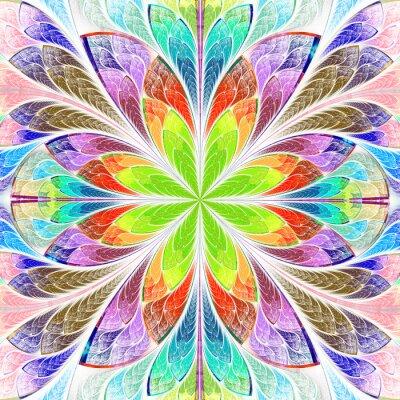 Adesivo Multicolore simmetrica fiore frattale in vetrata