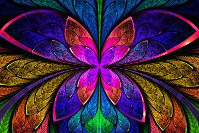 Adesivo Multicolore simmetrico modello frattale come fiore o farfalla
