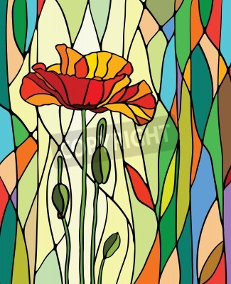Adesivo Multicolored stained glass with floral motif