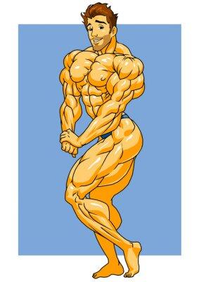 Adesivo muscoloso in posa culturista, illustrazione, colore, marchio, isolato su un bianco