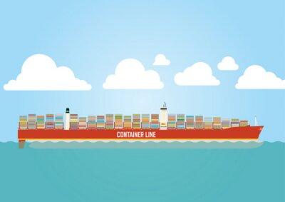 Adesivo Nave porta-container caricato con carico