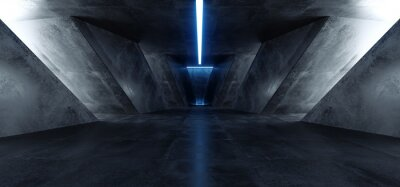 Adesivo Neon Laser Blue Sci Fi Modern Concrete Cement Dark Empty Asphalt Reflective Grunge Hall Room Corridor Tunnel Spaceship Glowing White Cinematic Daylight Rays Glow 3d Rendering