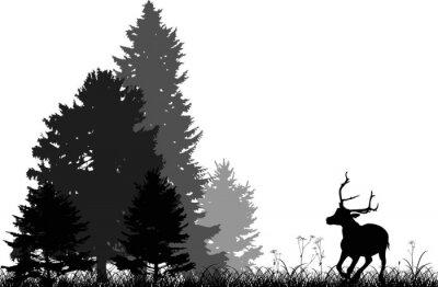 Adesivo nero cervo in esecuzione di foresta di abeti isolati su bianco