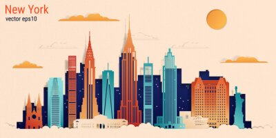Adesivo New York city colorful paper cut style, vector stock illustration. Cityscape with all famous buildings. Skyline New York city composition for design.