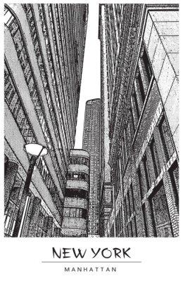 Adesivo New York City, Manhattan. Strada stretta nel centro, paesaggio urbano con famosi grattacieli. Illustrazione vettoriale in stile incisione. Disegno nero isolato su sfondo bianco. Vista prospettica.