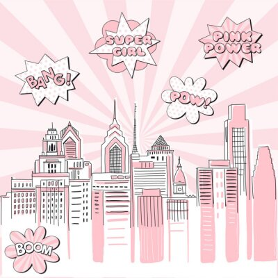 Adesivo New York city scape on Retro sun ray background with pop art comic fight supergirl power text bubbles . Hand drawn vector doodle graphics. Pink and black colours. Perfect for girlish design.