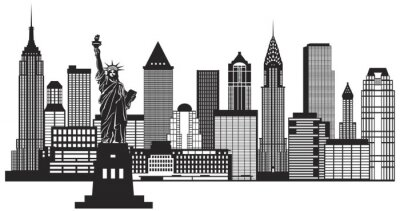 Adesivo New York City Skyline in bianco e nero illustrazione vettoriale
