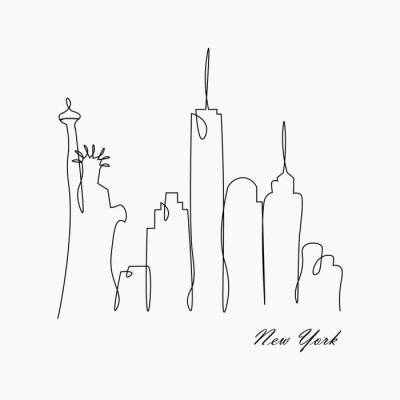 Adesivo New york city skyline with statue of liberty, usa, vector illustration.