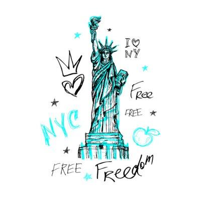 Adesivo New York, design t-shirt, poster, stampa, lettere della statua della libertà, mappa, grafica t-shirt, tendenza, pennellata a secco, pennarello, penna a colori, inchiostro, acquerello. Illustrazione ve