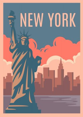 Adesivo New York Poster retrò.