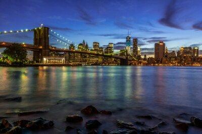 Adesivo New York Tramonto paesaggio con ponte di Brooklyn, Stati Uniti d'America