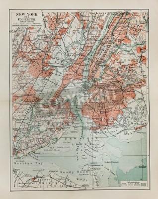 Adesivo New York vecchia mappa a partire dalla fine del 19 ° secolo