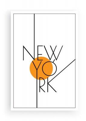 Adesivo New York, vector. Scandinavian art design. Minimalist poster design. Wall art work, wall decoration. Wording design, lettering