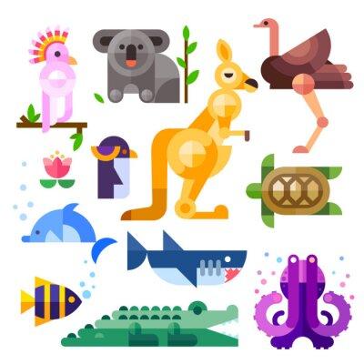 Adesivo Nizza animali australiani piatti: Kakadu, canguro, pappagallo, koala, emu, struzzo, delfini, pinguini, tartarughe, squali, pesci pagliaccio, coccodrillo, polpo. Appartamento illustrazione vettoriale s